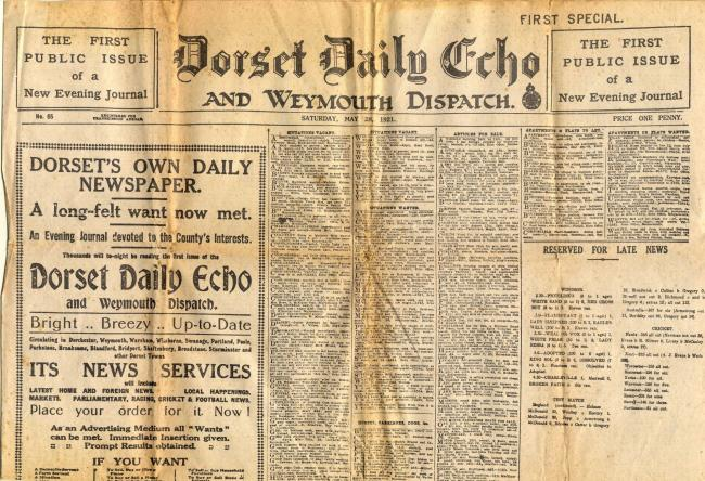 FIRST EDITION: Dorset Daily Echo and Weymouth Dispatch, May 28, 1921