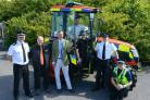 l-r Assistant Chief Constable Mark Cooper, Dorset PoliceTim Pinney, Kioti UK LtdRupert Rees, NFU MutualBen Fry, MJ Fry Agricultural EngineersPC Claire Dinsdale, Dorset Police Rural Crime TeamChief Inspector Ian Roe, Dorset Police PCSO Tom Balchin, Dorset