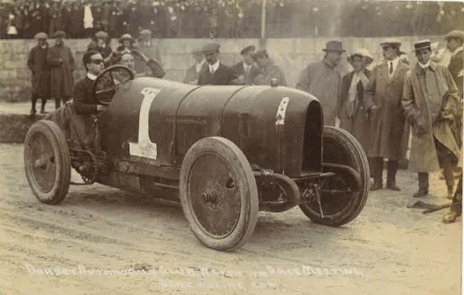 LOOKING BACK: Motor racing organised by the Dorset Automobile Club on Saturday June 7 1913 on Weymouth sands. Dozens of cars would fly over the beach close to the water's edge and reach speeds of nearly 60mph. Picture courtesy of Andy Hutchings.