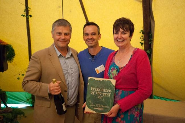WINNERS: Gareth and Gill Rossiter receive their award for being the Top Riverford Veg team in the South West