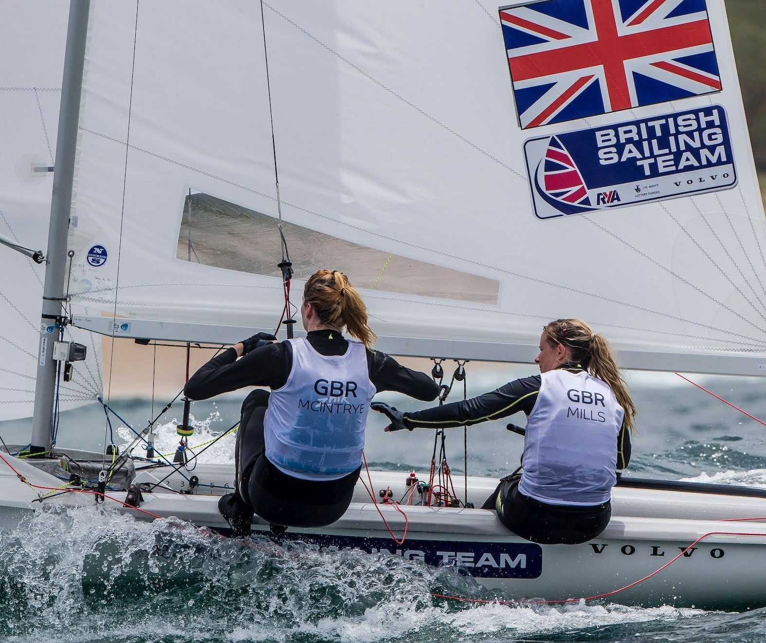 GRATEFUL NATION: Hannah Mills and Eilidh McIntyre have secured Great Britain a spot in the women's 470 at the Tokyo 2020 Olympics