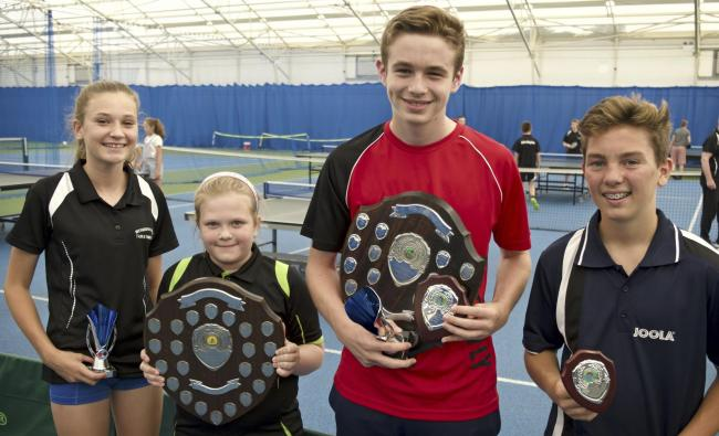 PRIZE TIME: Trophy winners, from left, Jaimee Browne, Jess Moggeridge, Jamie Blair and Nathan Calton