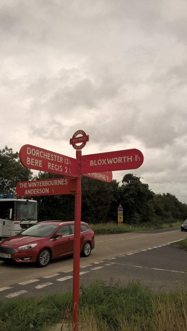 REFURBISHED: Red Post at Bloxworth  Picture: DORSET FINGERPOST PROJECT