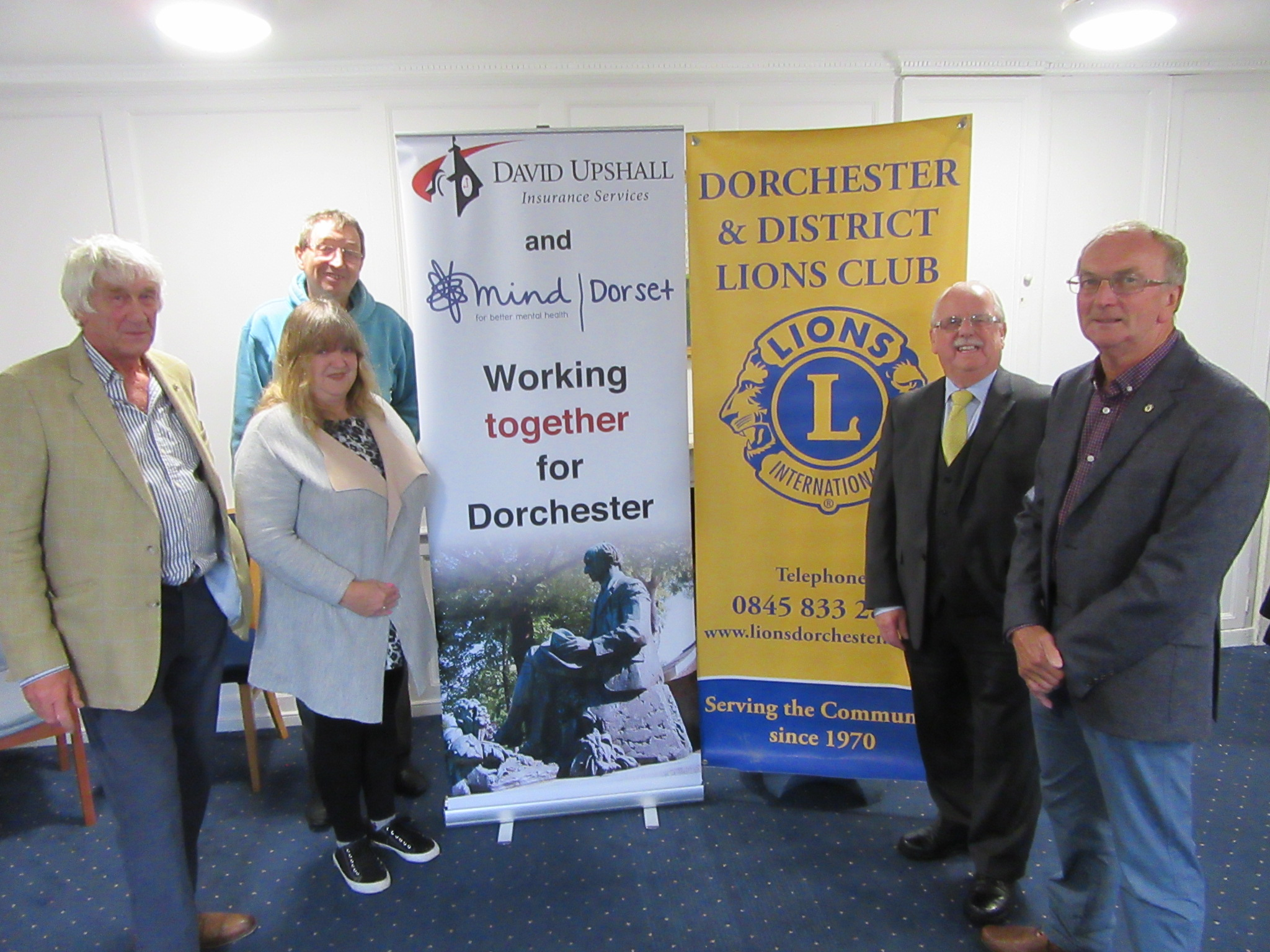 CAMPAIGN: (left to right) Former president of Dorchester and District Lions Rick Rogers, Anita Harries, Tim Harries, David Upshall and current president of Dorchester and District Lions Tony Howden.