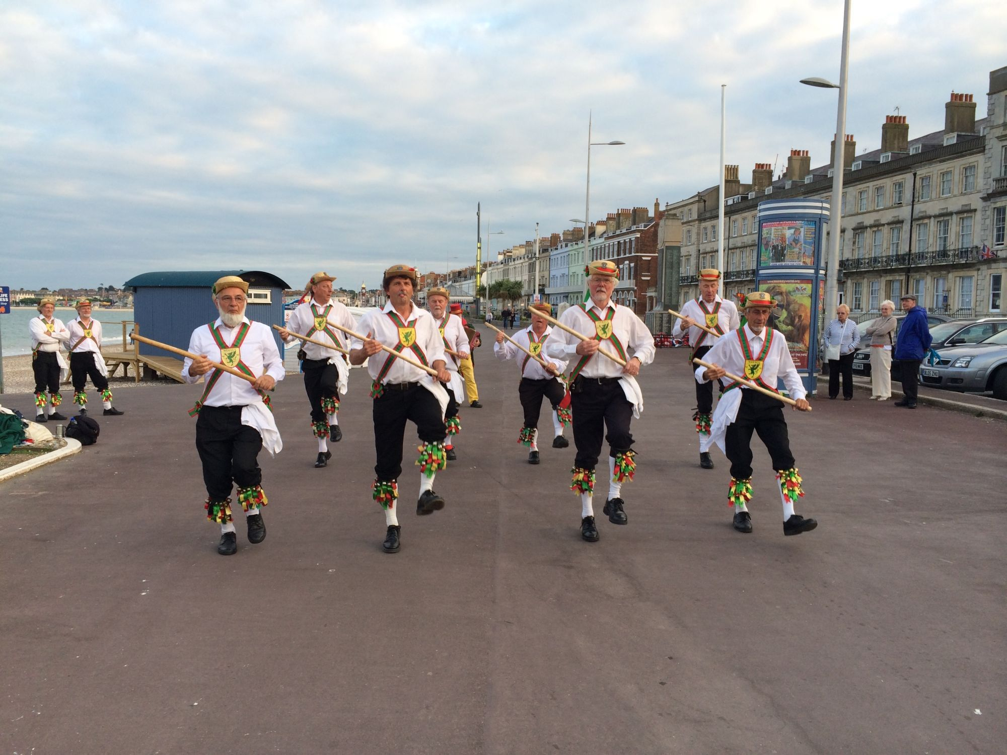 ALL IN LINE: Wessex Morris Men perform Ring of Bells from the Lichfield morris dancing tradition.  Picture: Mike Phelan.