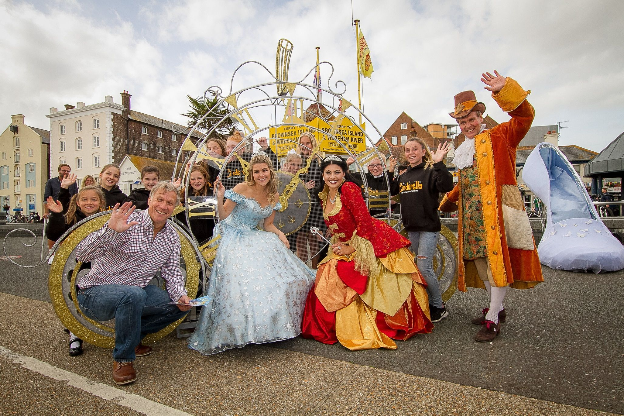 Peter Duncan with cast members of Cinderella at the launch of this year's pantomime at Lighthouse, Poole.