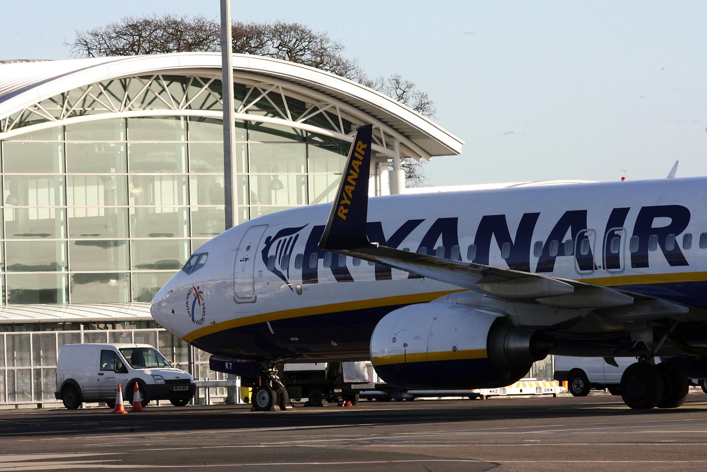 Pic by Sally Adams 8/2/11  SBSA8FEB2011Airside12.Bournemouth Airport ... Airside - Ryanair at Departures.