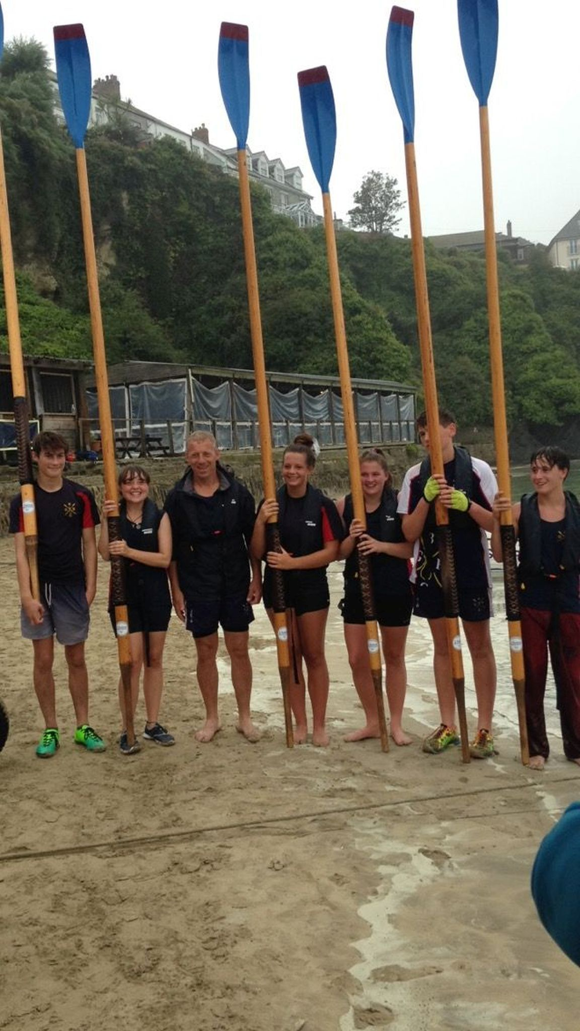 OAR-SOME; Bridport Juniors finished sixth at the Newquay County Championships. Right to left: Ellis Blackburn, Essie Stone, cox Kevin Batchelor, Libby Beecham, Sally Carruthers, Tim Girling and Josh Hamblett-Edwards. Picture:  GemmaSmith
