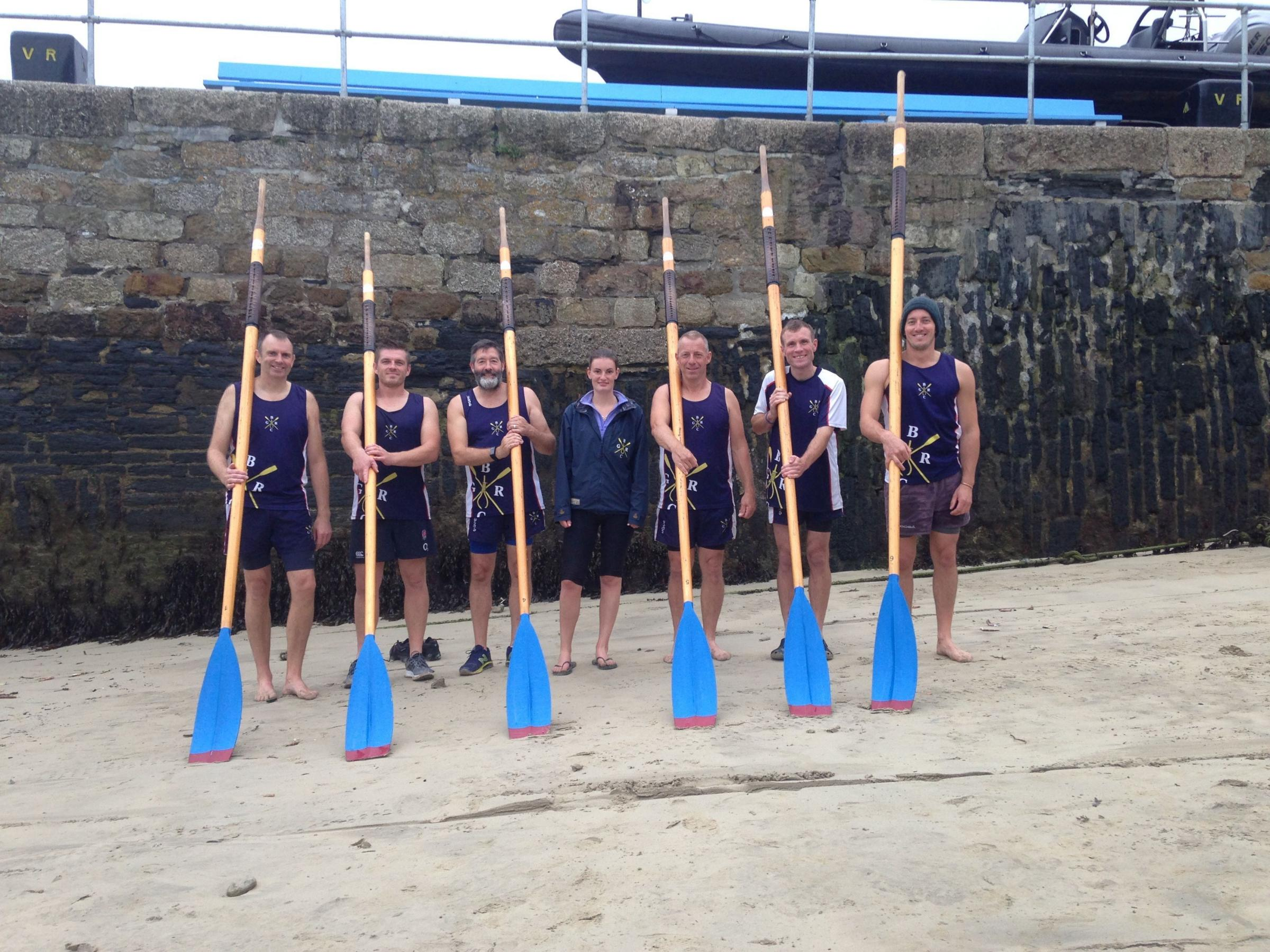 OARS UP: Bridport men's A crew, left to right: Stephen Goodman, Tom Woodhouse, Paul Skillend, cox Gemma Smith, Kevin Batchelor, Ash Raison and Lewis Webster.Please credit Tom Ramsden