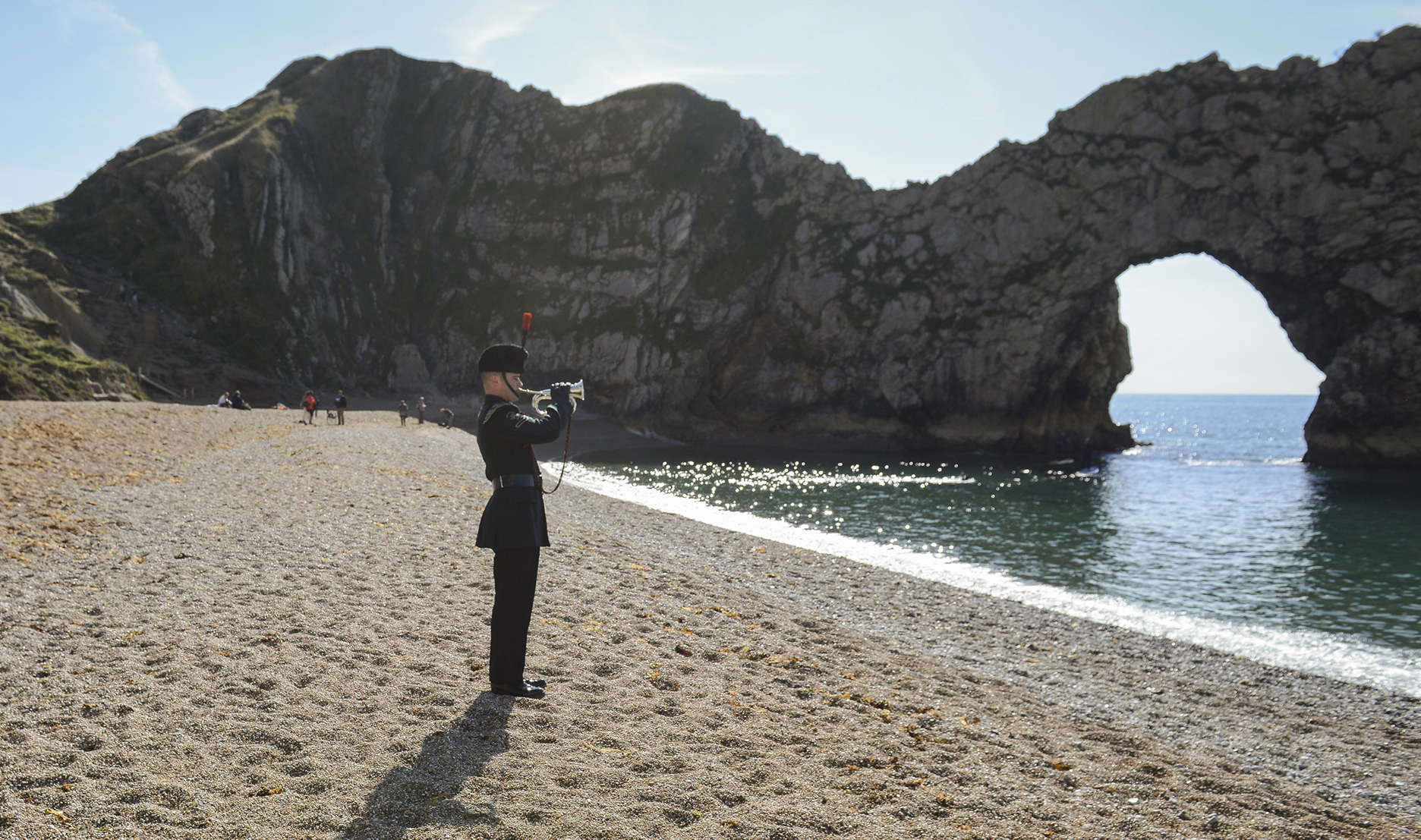 POIGNANT L/Cpl Yaseen at Durdle Door Picture BRITISH ARMY & Durdle Door stars in British Army Last Post video | Dorset Echo