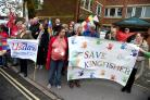 Hospital campaigners from DCH and Poole protesting ahead of CCG governing body meeting