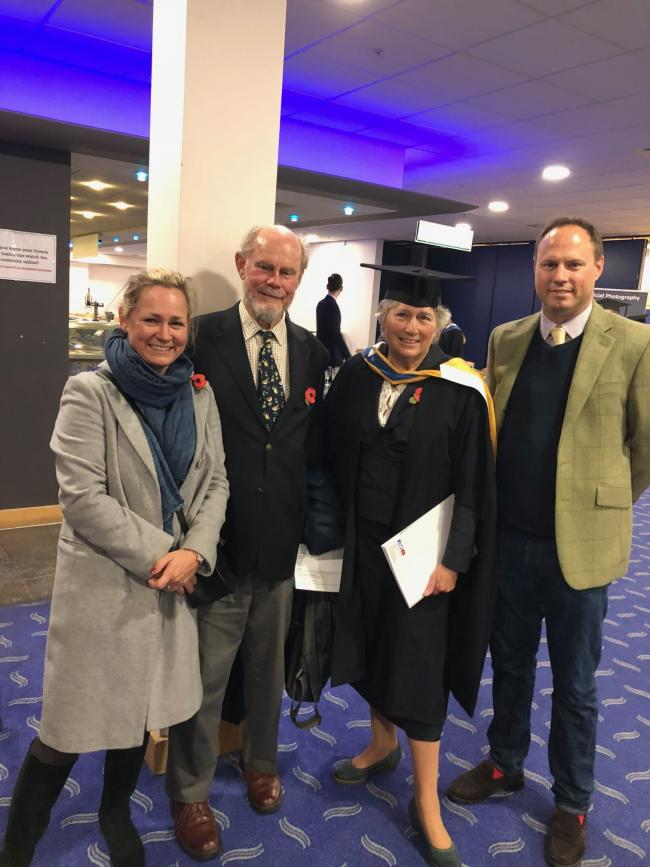 Tamsin, Roger, Sally and Alexander Pinney at Upwey artist Sally's Bournemouth University graduation