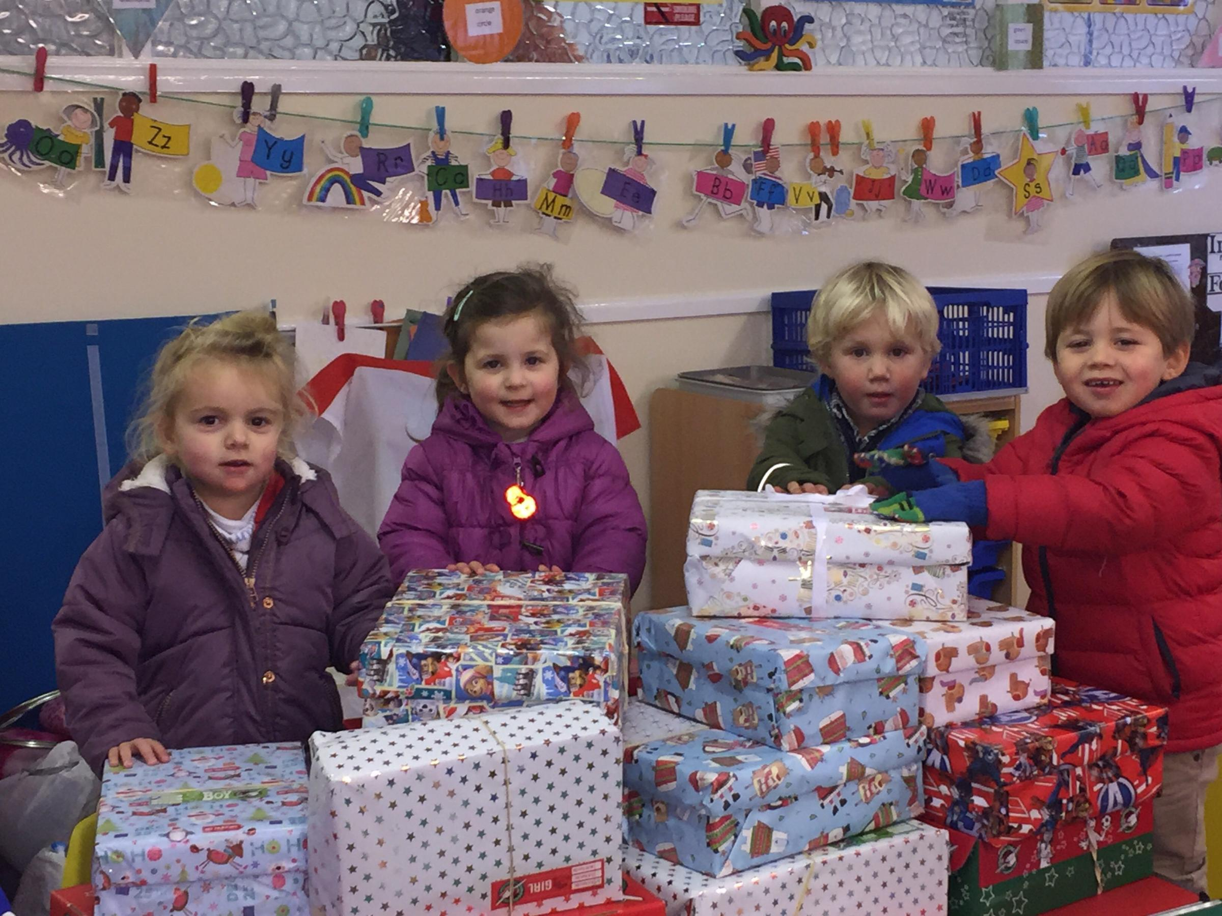 Pupils of Smarties Pre-School and their shoeboxes