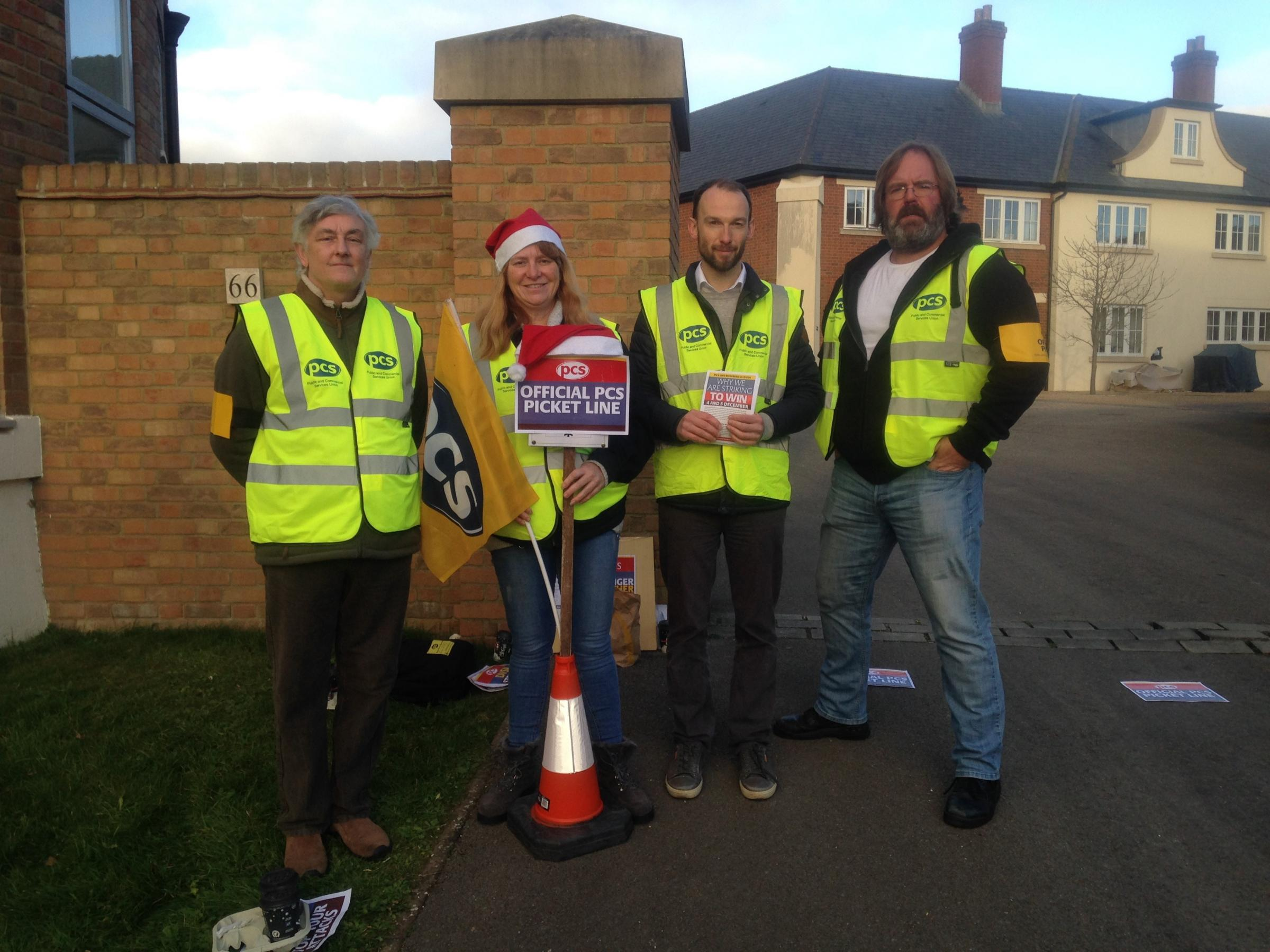 ACTION: PCS members picket the DVSA test centre in Dorchester