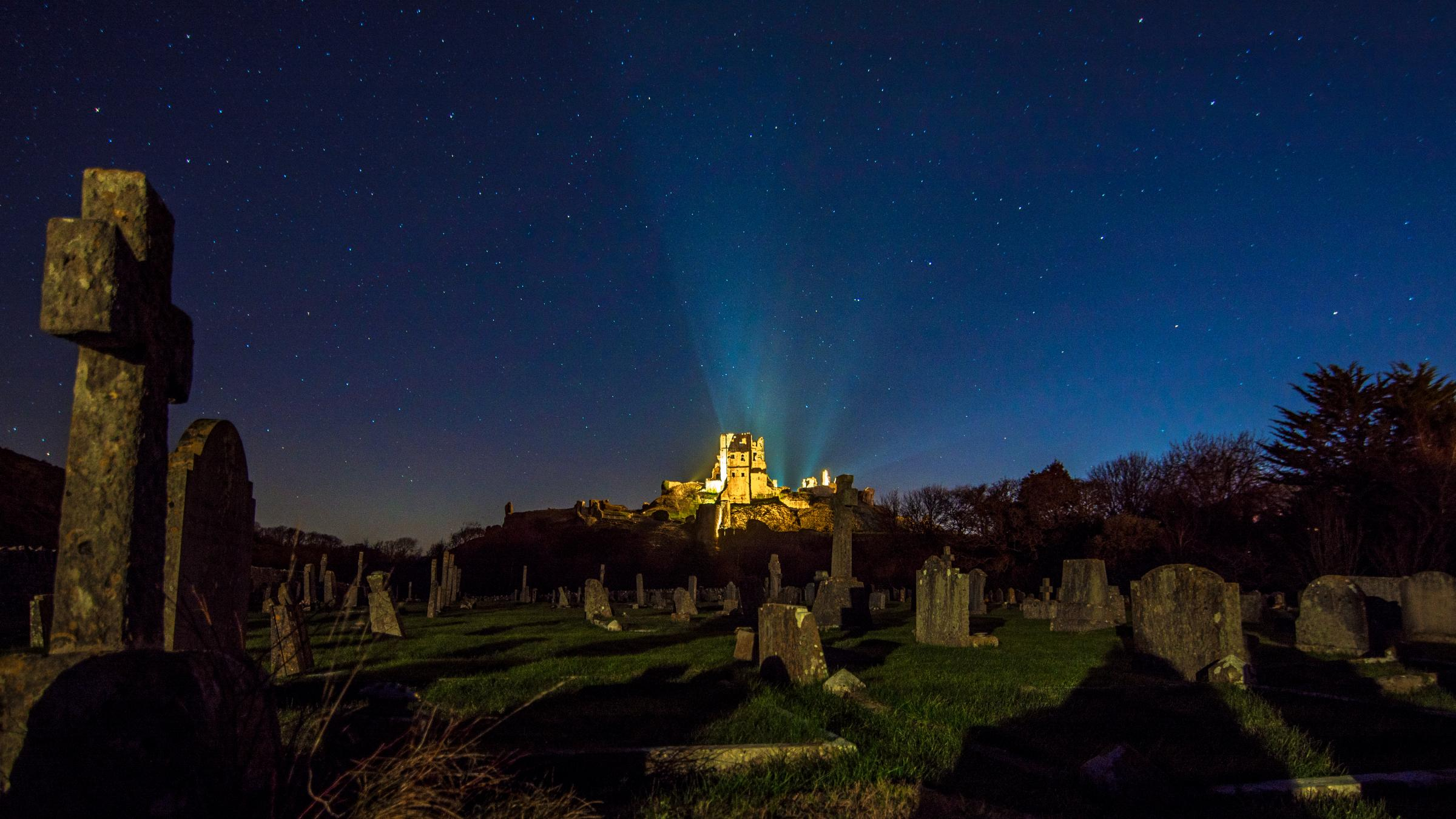 Corfe Castle lit up on a freezing night by Pete Scott/Naturehawk Photography