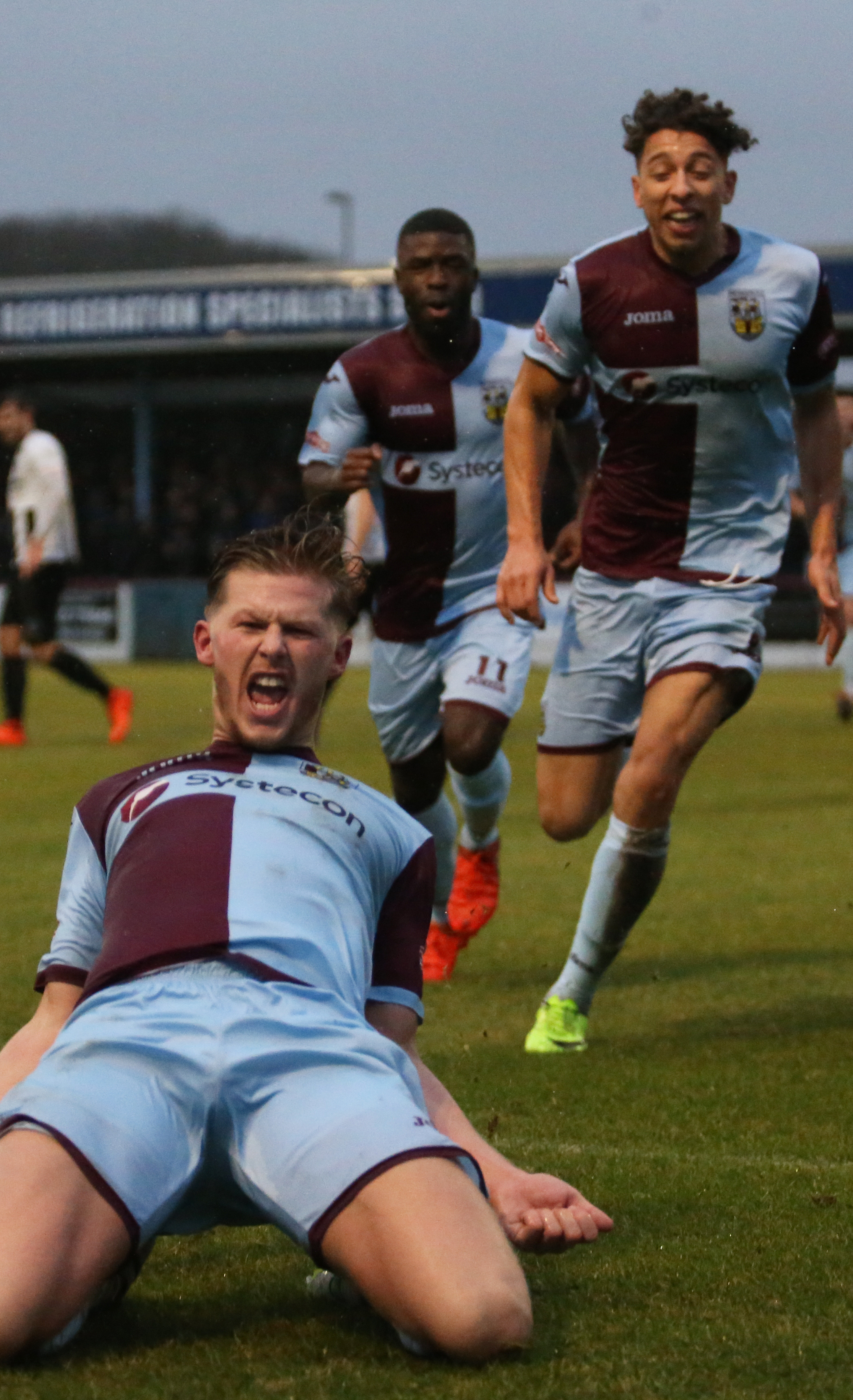 TERRAS' DELIGHT: Charlie Davis celebrates his goal                         Picture: MARK PROBIN