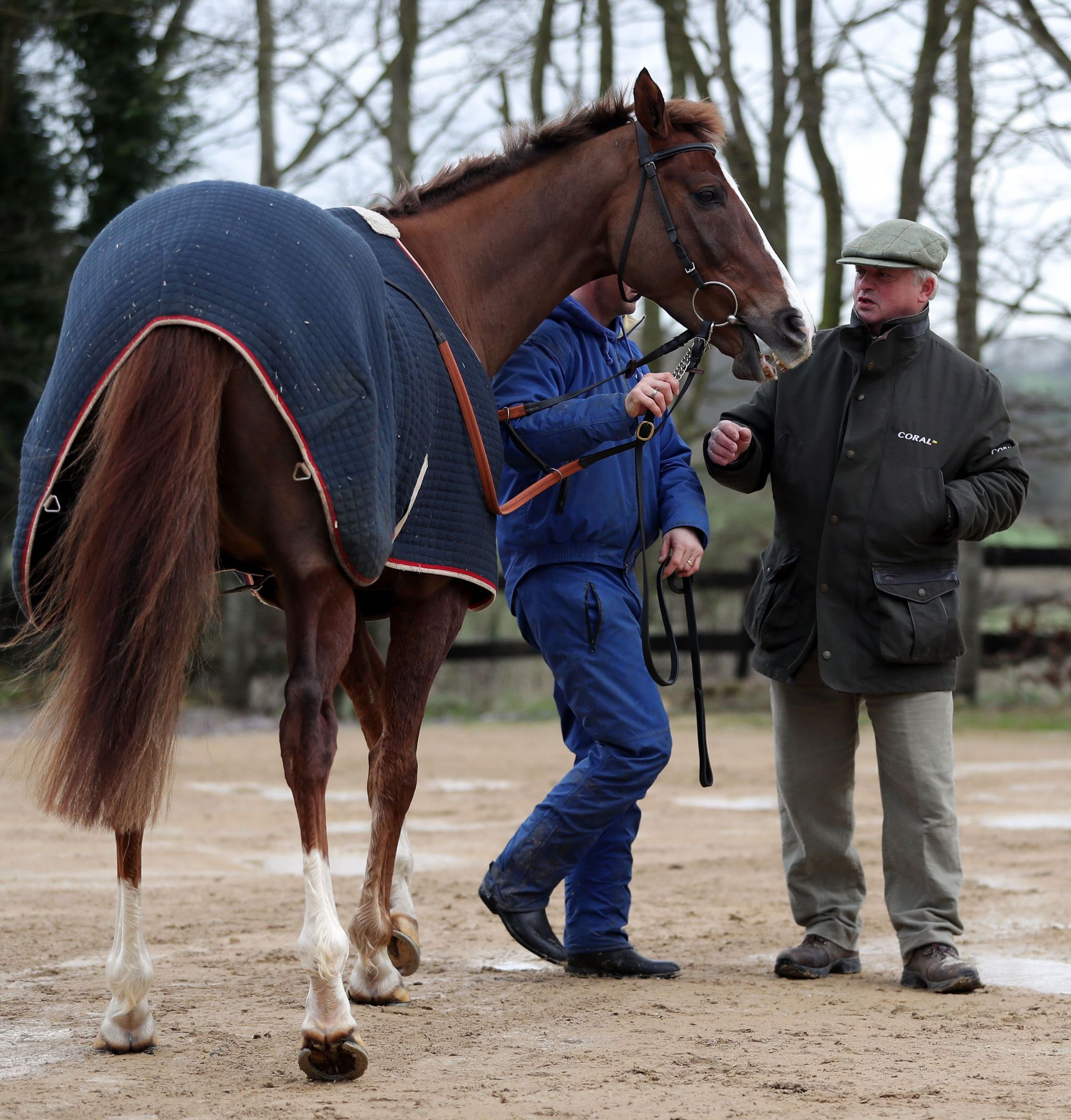 PREPARATIONS: Native River with trainer Colin Tizzard     Picture: ANDREW MATTHEWS/PA WIRE
