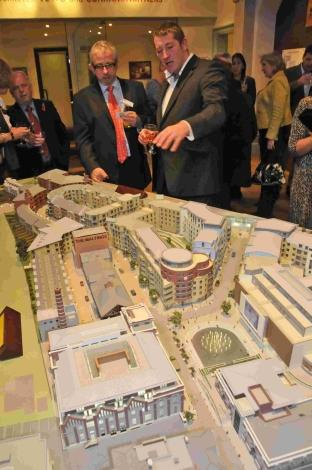 PLENTY OF INTEREST: Guests look at the model of the Brewery Square development at an open evening in Dorchester