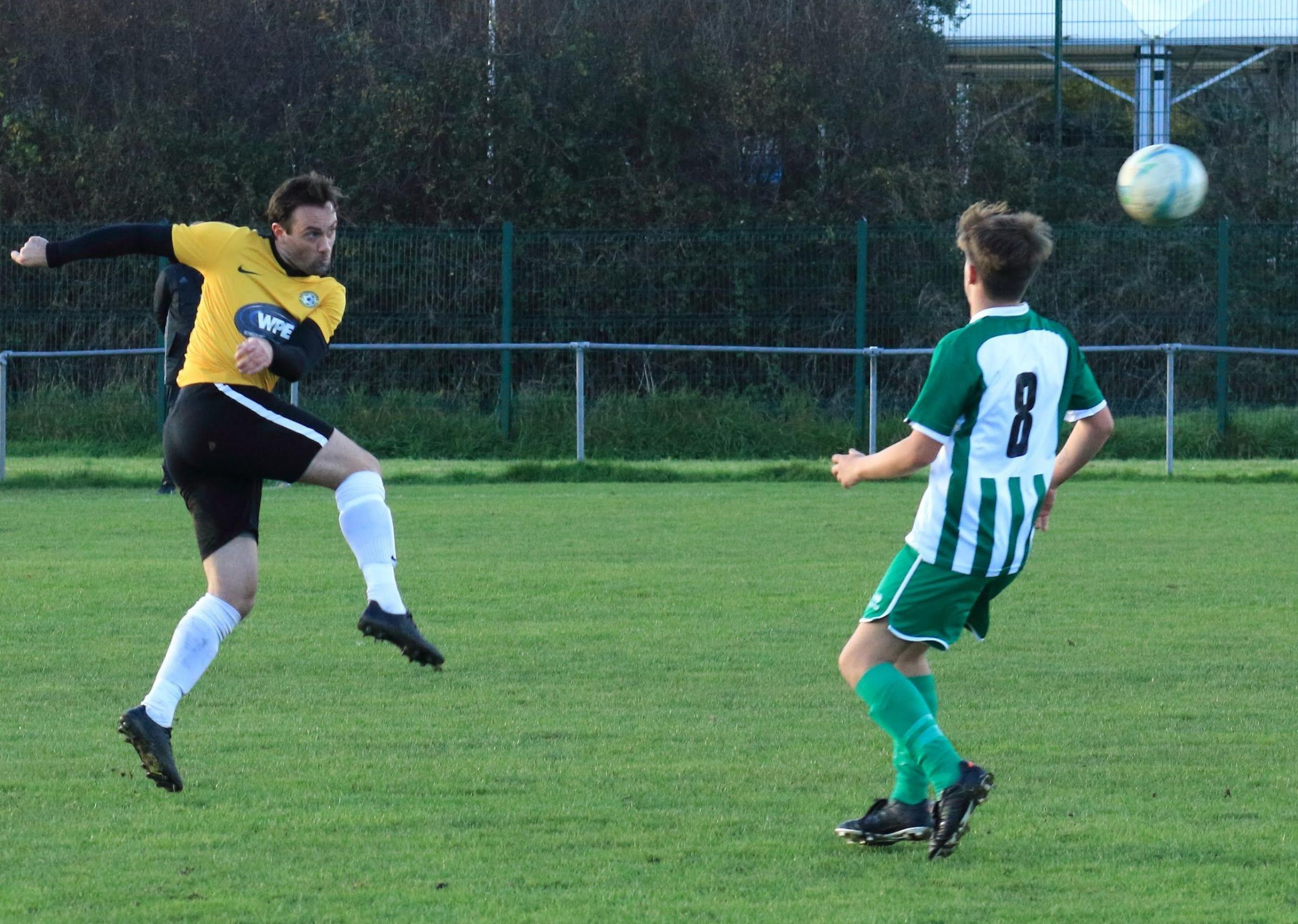 ACCOUNT OPENED: Balti's Carl McClements, left, struck his first goal of the season                   Picture: STEVE HUNTER
