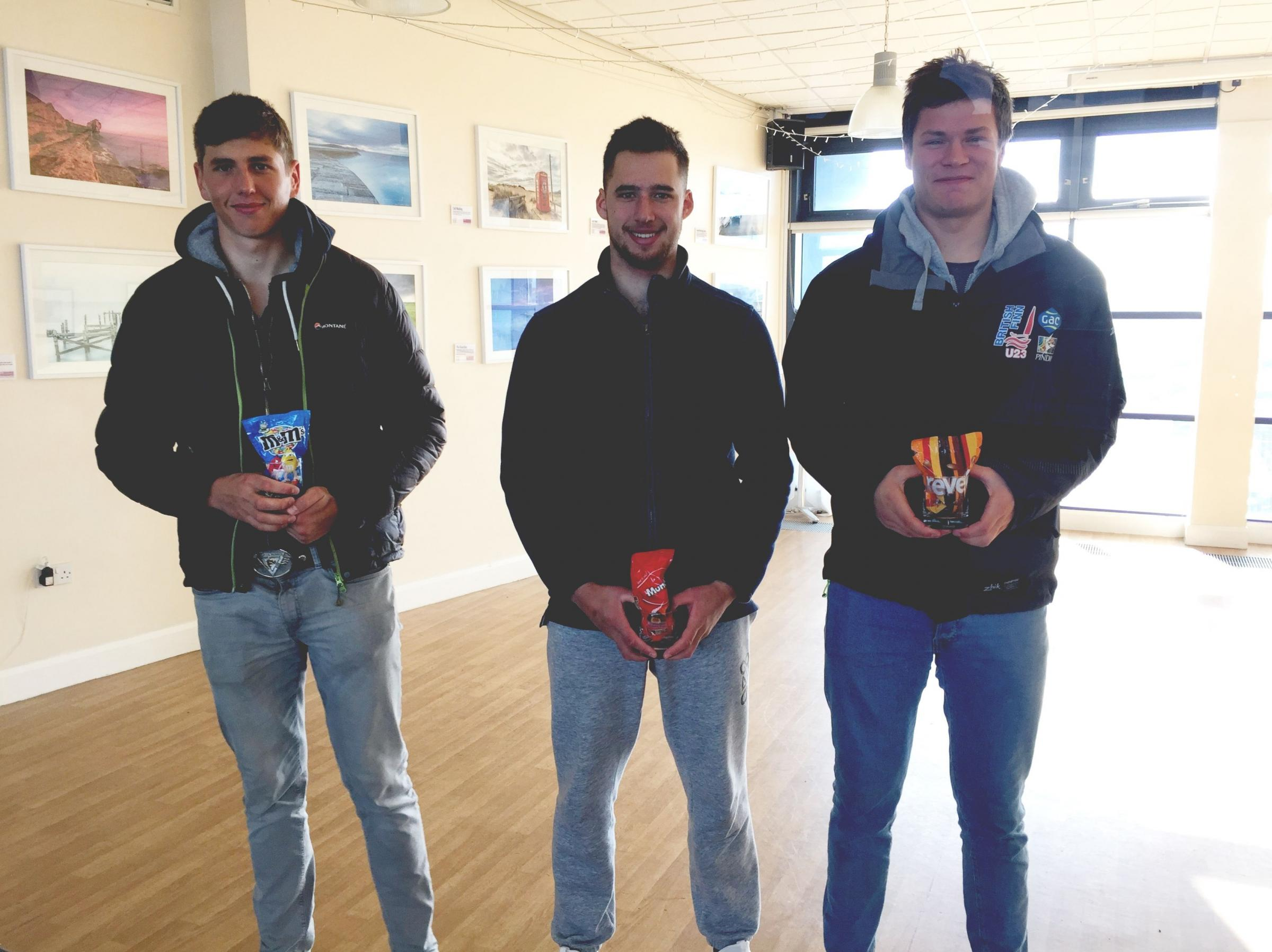 FINN CLASS STARS: From left: Hector Simpson (second), Cameron Tweedle (third) and Callum Dixon (first)