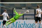 HIGH WORKLOAD: Chris Weale, right, made several important saves at Stratford Picture: PHIL STANDFIELD