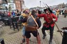 Crabchurch Conspiracy weekend in Weymouth - Re-enactors marching to Hope Square - 280215, Picture GRAHAM HUNT HG12888.