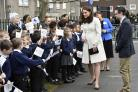The Duchess of Cambridge meets school children during a visit to Pegasus Primary School in Oxford to learn about the work of the charity Family Links (Arthur Edwards/The Sun/PA)
