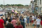Pics by Samantha Cook Photography, 8th July 2017. Pommery Dorset Seafood Festival, Weymouth Harbour, various locations Weymouth Harbourside Custom House Quay. Pic: Busy Trinity Road by the harbour.