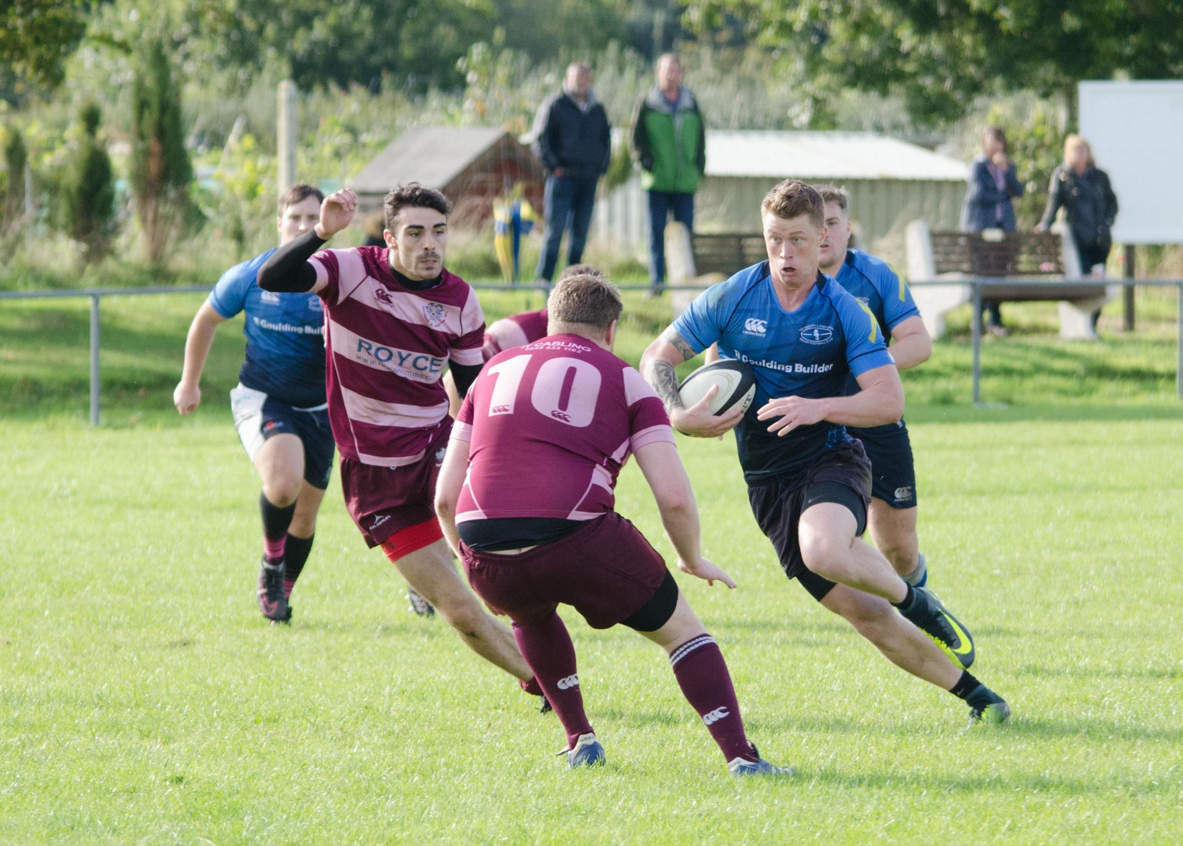INDIVIDUAL EFFORT: Norton Rogers, right, scored from 60 metres out                 Picture: CHRIS DAVIS