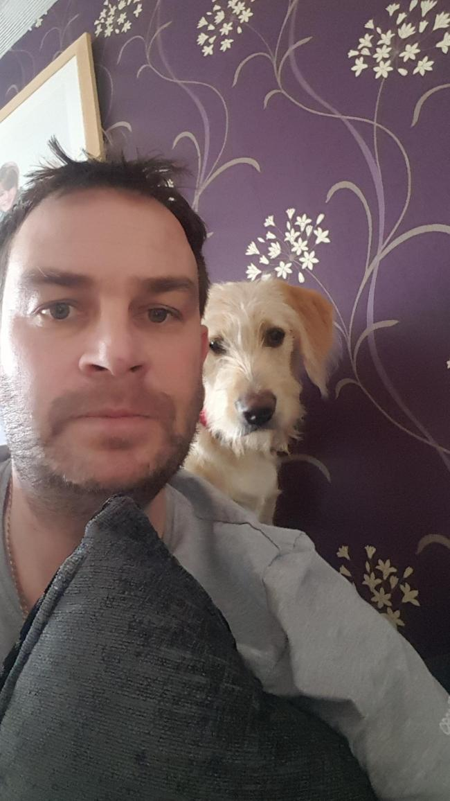 Cheeky little selfie with Honey our 6 month old Golden doodle. And for once she's behaving!!!