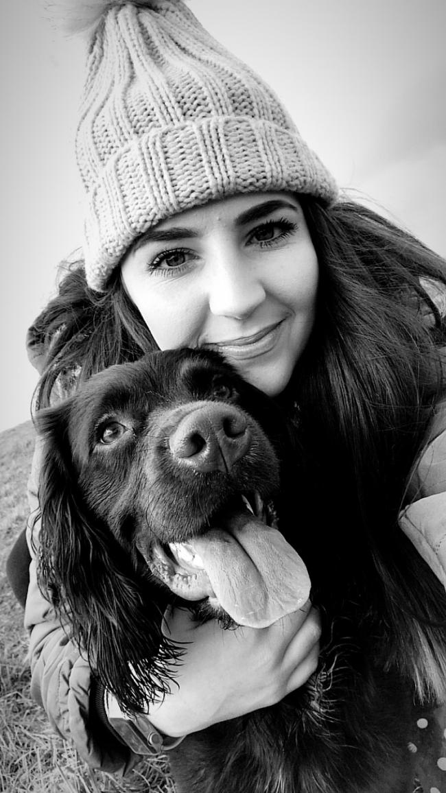 This is Louis with his owner Chloe, he is a 1 year old Sprocker spaniel.He is very friendly and excitable and loves walking in different places!