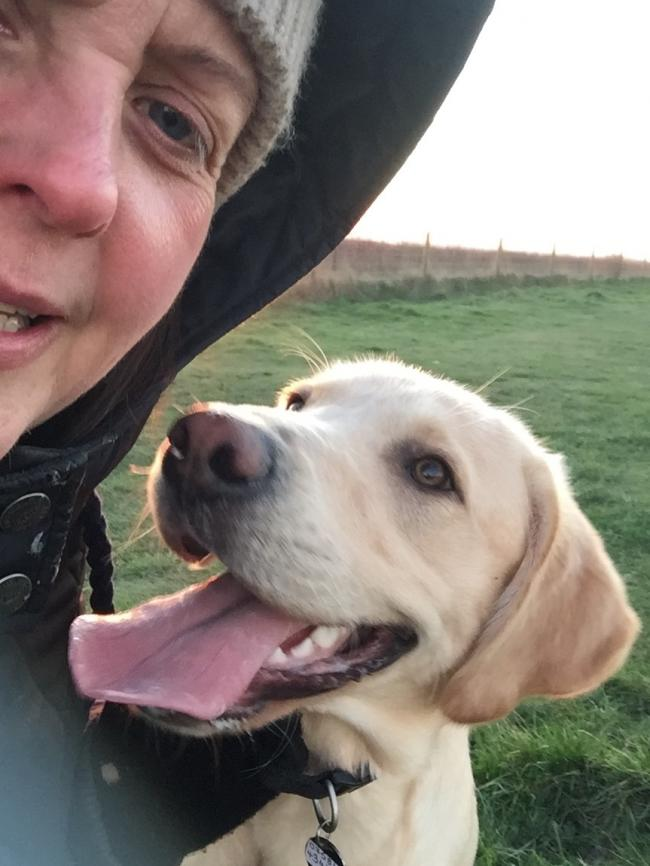 First 3 selfies are me & Reggie my 2 yr old lab.. 4th selfie is Ozzy my 12 yr old lab that passed away 3 yrs ago..