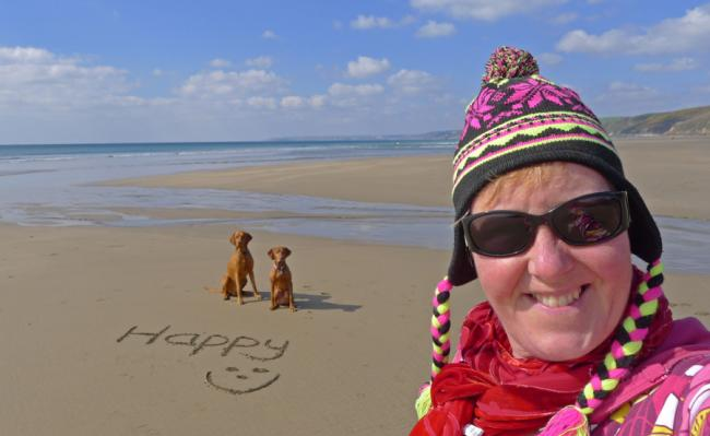 Happy on a deserted beach in winter sunshine  :)