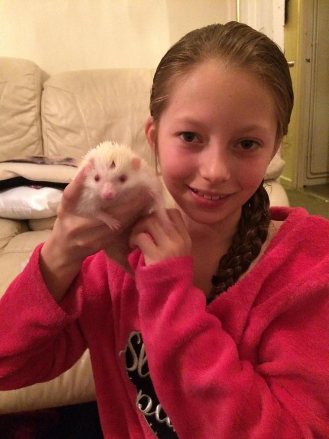 Chloe and Casper the 'friendly' hedgehog