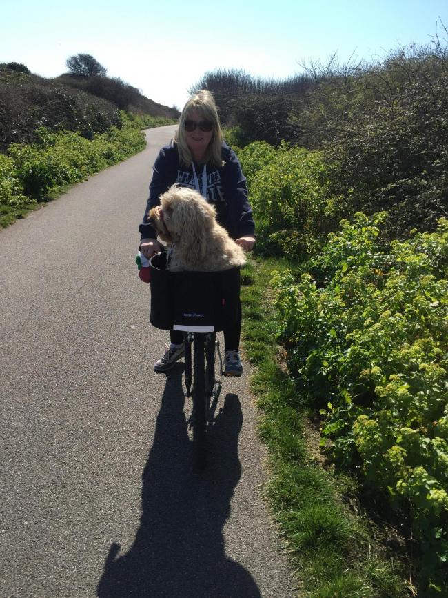 Teddie enjoying a bike ride with mummy