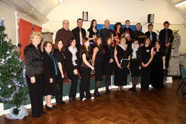 One Voice led by Grazina Ellis (left of picture) before their outstanding carol concert.