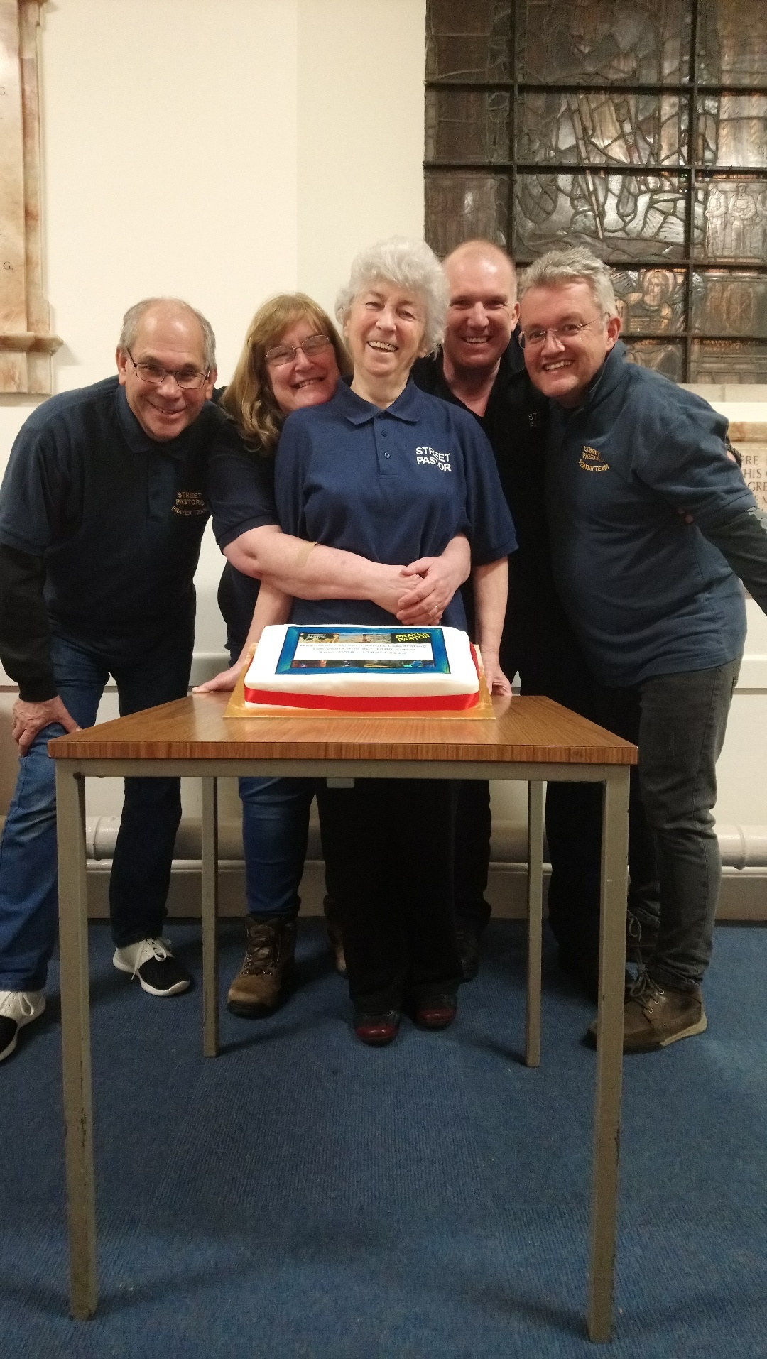 Peter Tripp, Eleanor Dymott, Catherine Sullivan, Dave Cresswell and Dave Rees the Weymouth streetpastors co-ordinator