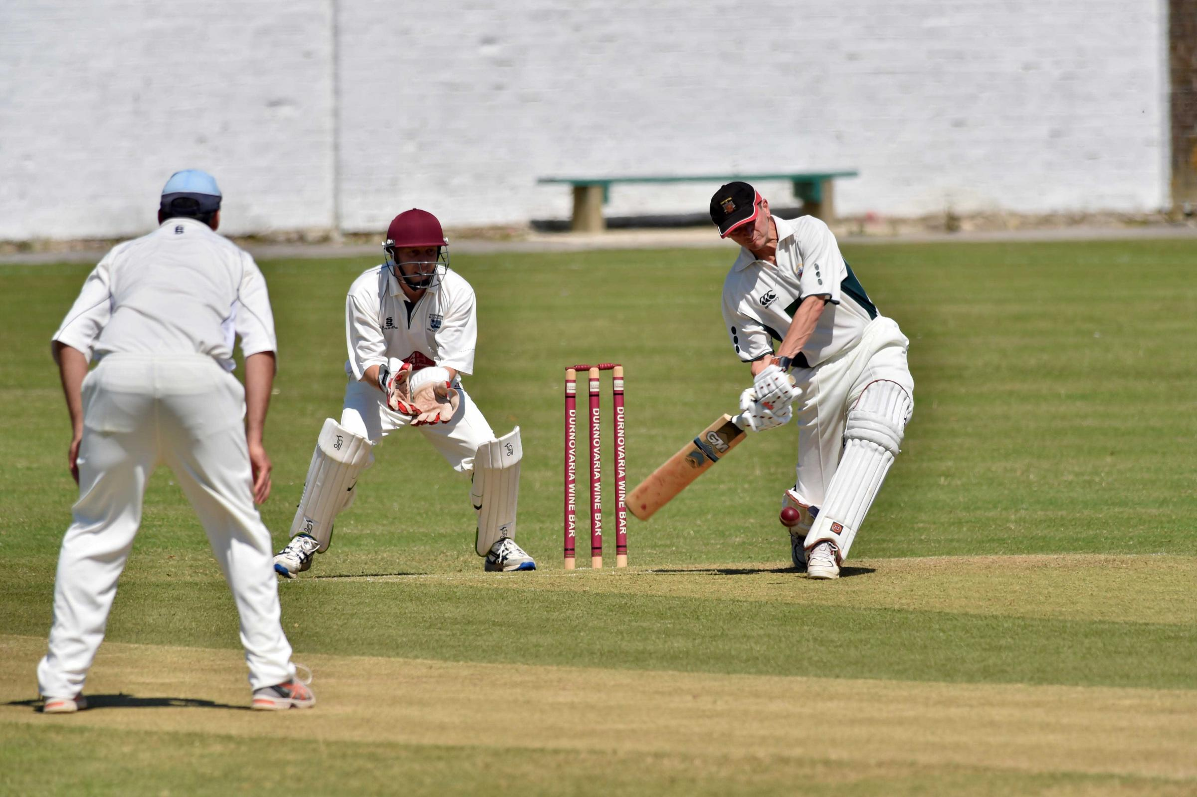 UNBEATEN: Mike Peak, right, hit 45 for Dorchester at Swanage 		         Picture: GRAHAM HUNT/HG13353