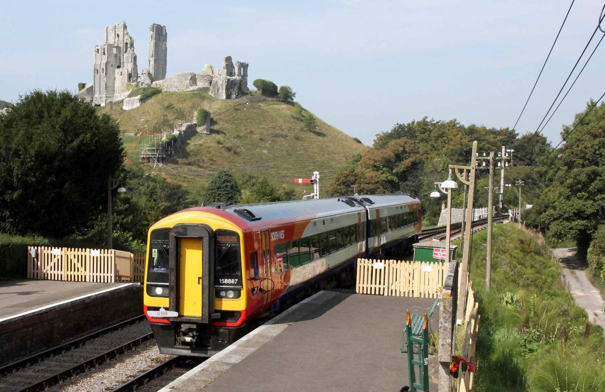 TOURIST TRAIN: South Western Railway service at Corfe Castle   Picture: Andrew P.M. Wright