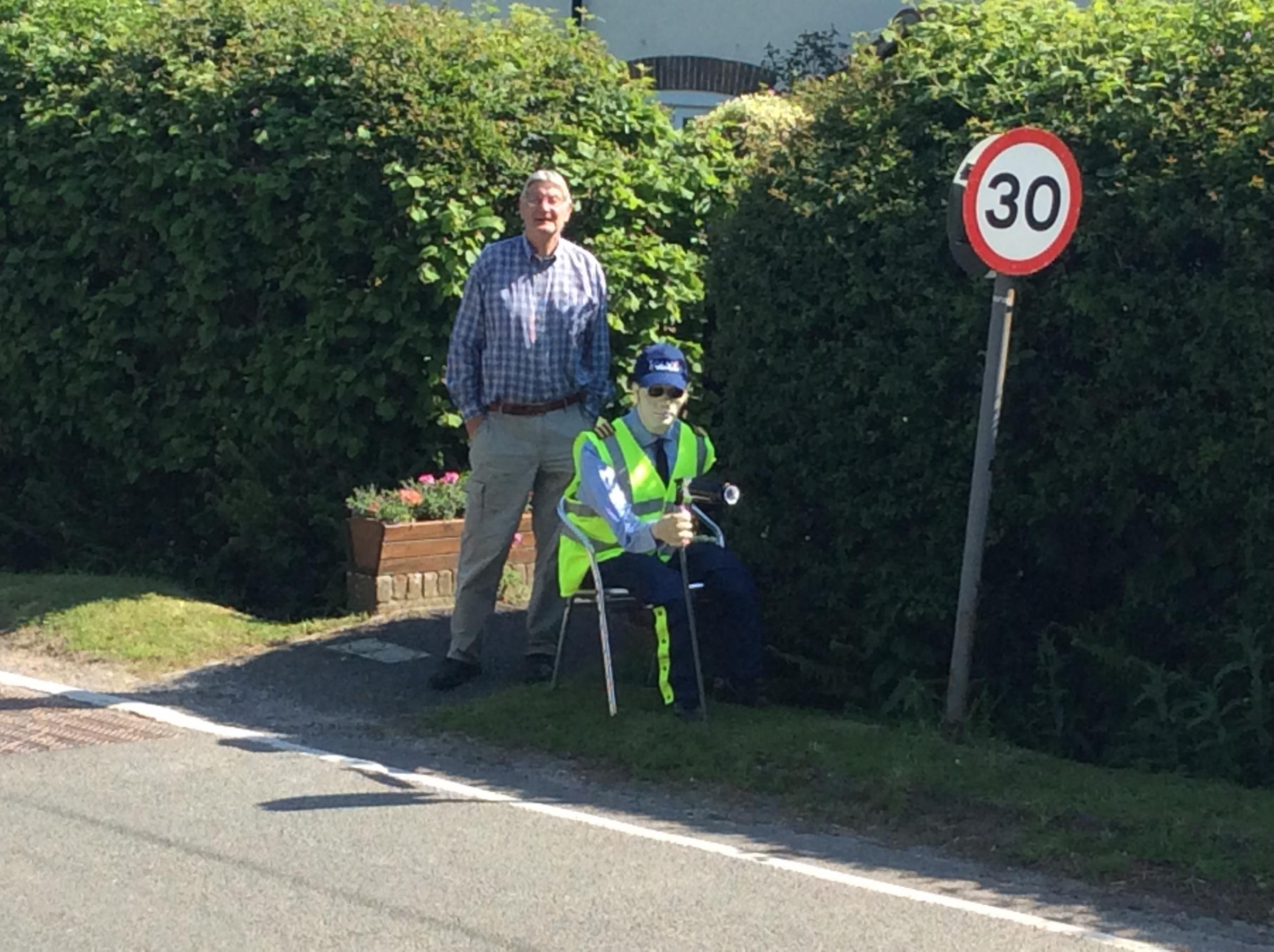 GOOD FUN: Mr Hildred and his 'good-humoured' scarecrow
