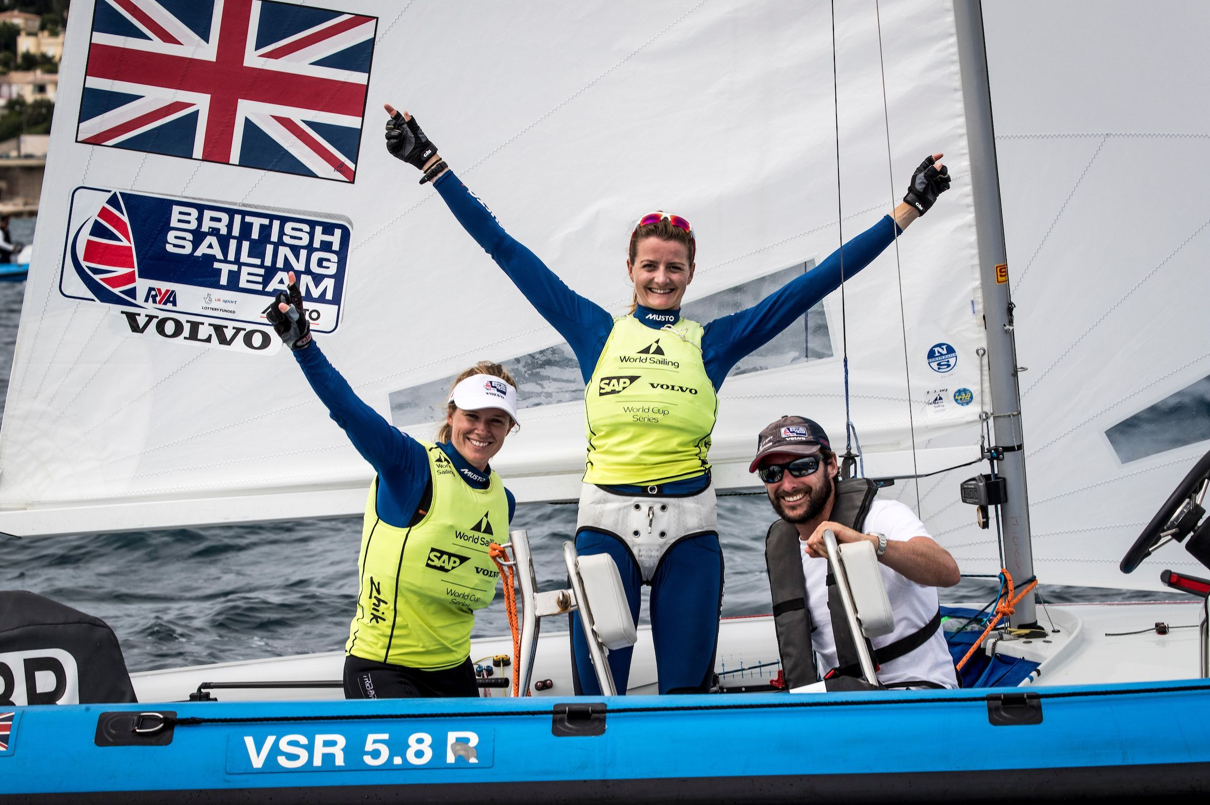 TITLE DEFENCE: Hannah Mills and Eilidh McIntyre celebrate the defence of their World Cup Series title in Marseille Picture: RICHARD LANGDON/SAILING ENERGY