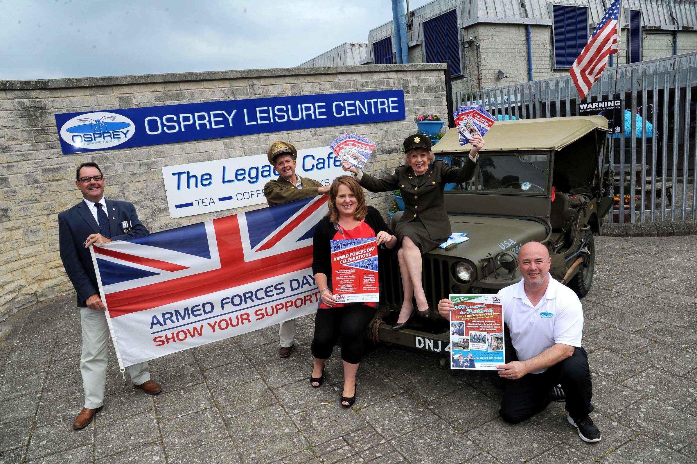 Launch of Weymouth Armed Forces Day 2018 at Osprey Leisure Centre, left to right, Richard Kosier, Kevin Butcher, Charlie Sheppard, Poppy Butcher and manager of Osprey John Jennison, 12/06/18, PICTURE: FINNBARR WEBSTER/F19710