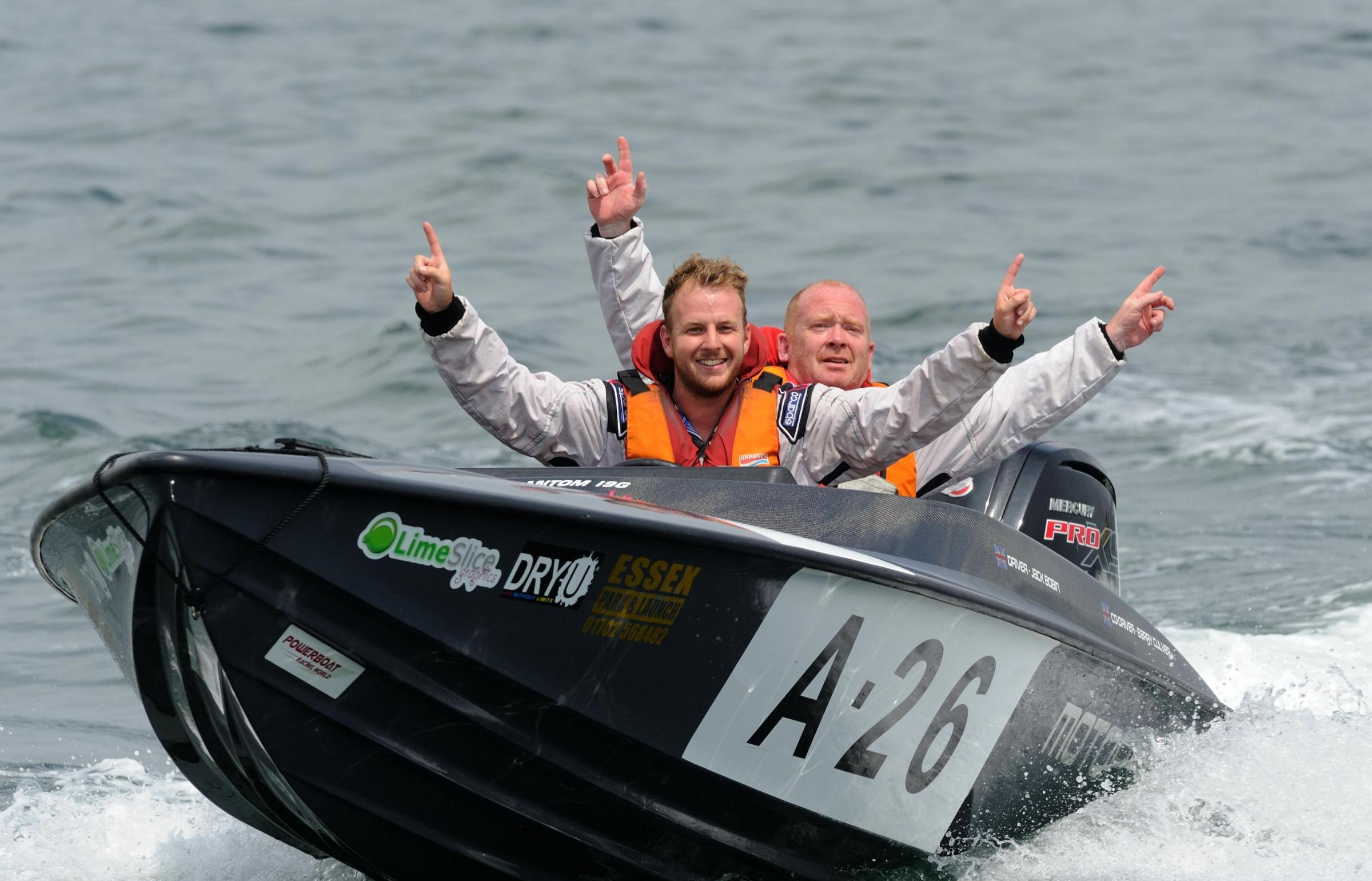 CLASS VICTORS: Jack Bobin and Stuart Unwin celebrate their Class Three win 	              Picture: CHRIS DAVIES