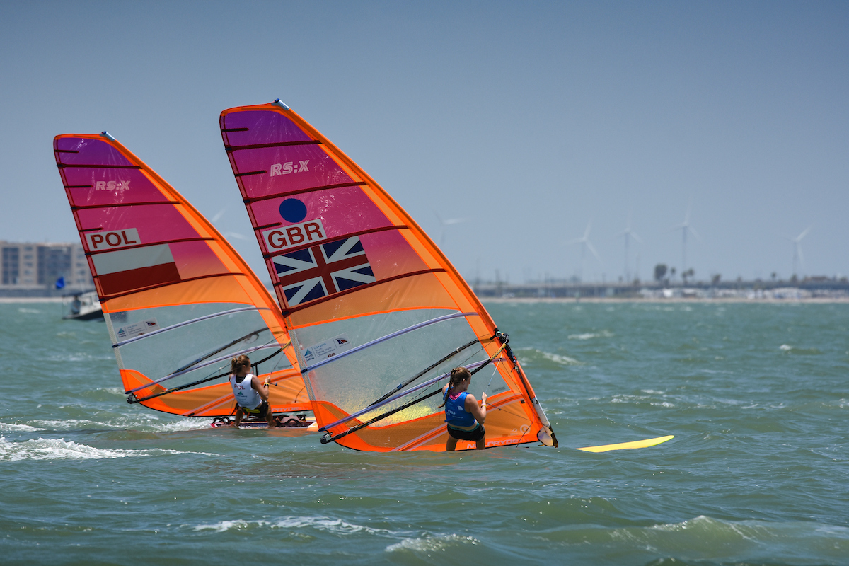 STAYING STEADY: Islay Watson, right, is on track to finish in the top three Picture: WORLD SAILING/JAMES TOMLINSON
