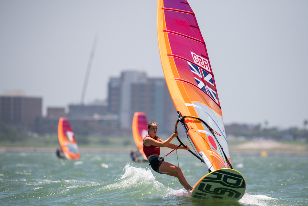GOLD: Islay Watson has claimed the top spot with a race to spare Picture: WORLD SAILING/JEN EDNEY