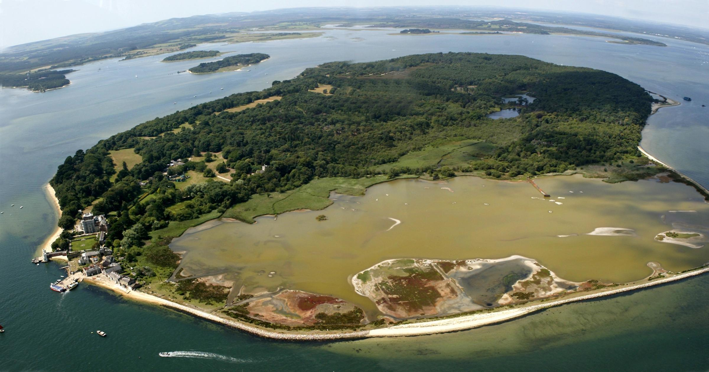 Brownsea    -  pic by Richard Crease  NB MUST ALSO CREDIT THANKS TO BOURNEMOUTH HELICOPTERS. -   views over  the area -  Brownsea Island