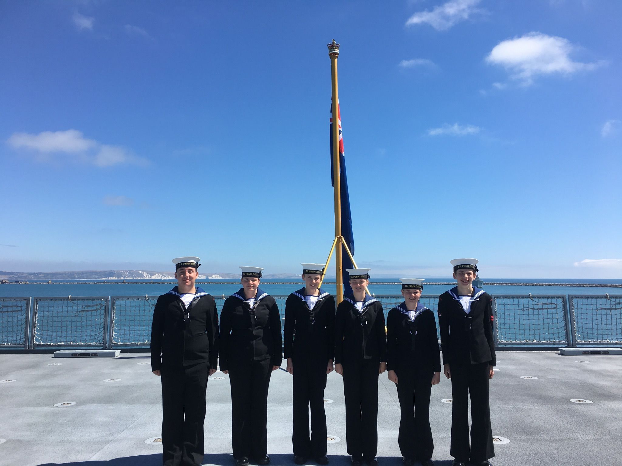 HONOURED: Portland Sea Cadets on RFA Tiderace's flight deck, immediately after the ship's dedication service