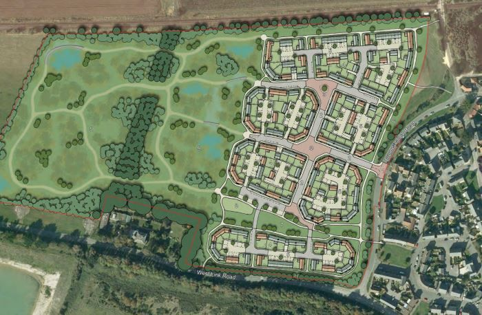 Indicative illustration of the proposed development north-west of Crossways   Picture: WDDC
