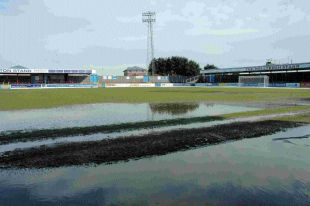 WESSEX WASHOUT: The Wessex Stadium after yesterday's snow