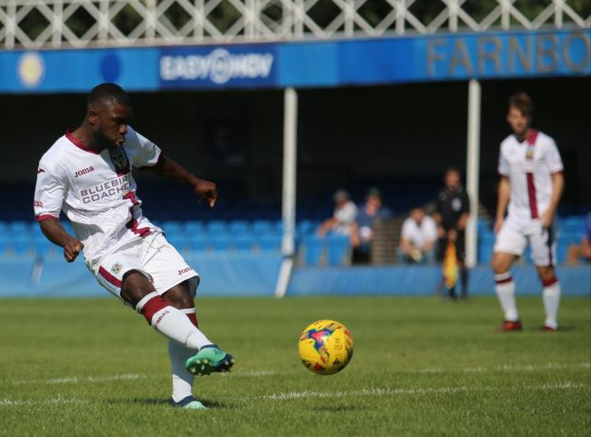 FANTASTIC START: Abdulai Baggie fires in to put Weymouth 2-0 up after 14 minutes Picture: MARK PROBIN